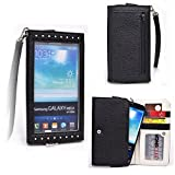 Onyx Black EXXIST Universal Large Phone Case Pouch with Card Holders ID Pocket Bill Fold Fits Samsung Galaxy Note5