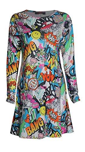 Forever Womens Comic Print Swing Dress Vest Leggings in
