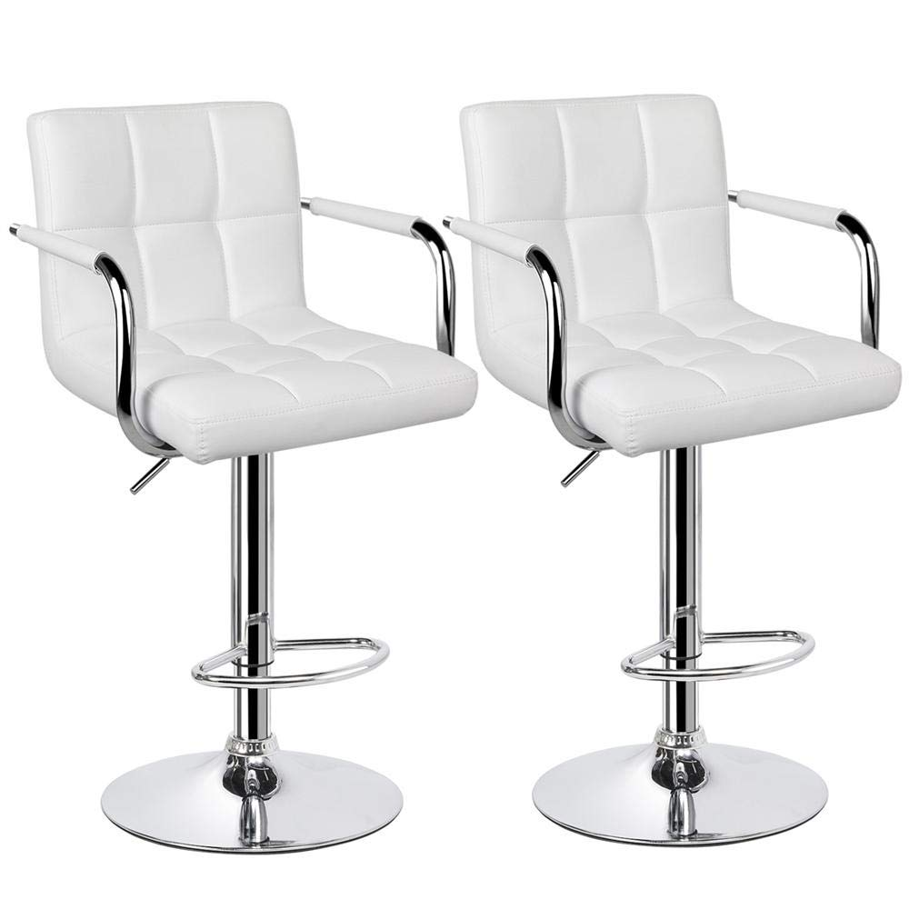 Yaheetech Tall Bar Stools Set of 2 Modern Square PU Leather Adjustable BarStools Counter Height Stools with Arms and Back Bar Chairs 360° Swivel Stool White by Yaheetech