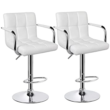 Awesome Yaheetech Tall Bar Stools Set Of 2 Modern Square Pu Leather Adjustable Barstools Counter Height Stools With Arms And Back Bar Chairs 3600 Swivel Stool Machost Co Dining Chair Design Ideas Machostcouk