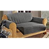 Elegant Comfort Quilted Slip Cover Water-Absorbent Furniture Protector For Sofa, Gray
