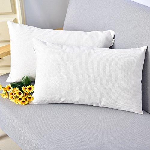NATUS WEAVER Breathable Linen Burlap Decor Oblong Throw Cushion Cover Pillow Sham for Living Room, 12 x 20 Inches,2 Packs, ()