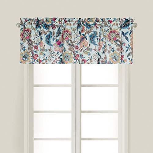 (C&F Home Tansy Blue Floral Flower Vine Blue Pink White Spring Easter Summer Cotton Premium Window Valance Valance Blue Navy Teal Coral Yellow Purple )