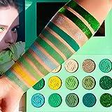 Avocado Green Eyeshadow Palette DE'LANCI 15 Color Bright Eye Shadow Halloween Makeup Pallete Matte Shimmer Glitter Highly Pig