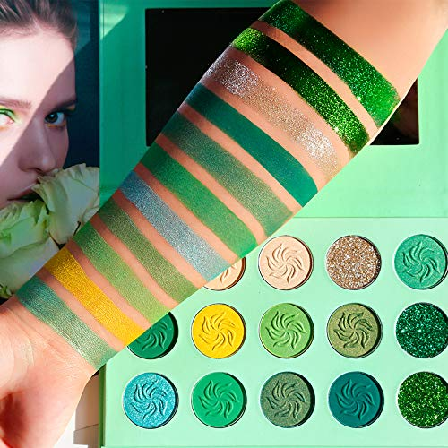 Avocado Green Eyeshadow Palette DE'LANCI 15 Color Bright Eye Shadow Matte Shimmer Glitter Highly Pigmented Vegan Makeup Eye Shadow Powder Long Lasting Waterproof Cosmetic Eye Shadow Palette]()