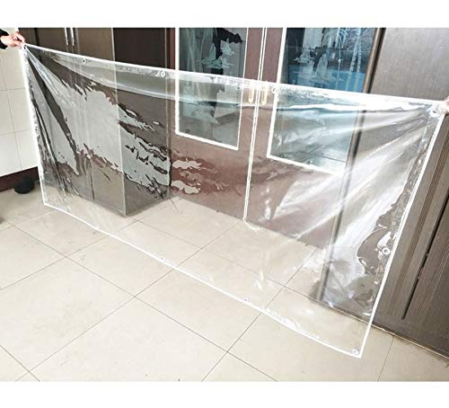 Tarps SUBBYE Clear Waterproof, Multi-Purpose Thick PVC Transparent Tarpaulin with Grommets, 0.45kg/m² (Size : 1.8×2M)