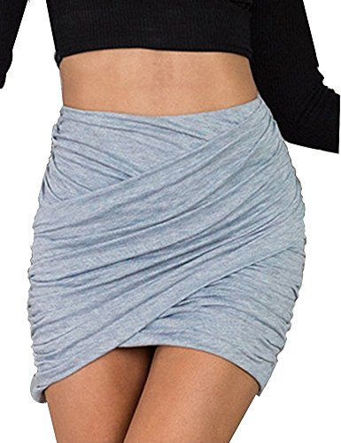 Pleated Pocket Pencil Skirt (Gamery Women's Sexy Wrap Runched Stretch Draped Short Mini Pleated Pencil Skirts Large Grey)