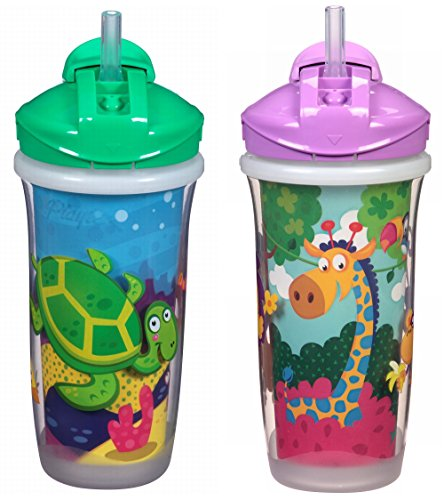 Playtex Sipsters Stage 3 Spill-Proof, Leak-Proof, Break-Proof Insulated Straw Sippy Cups for Boys and Girls - 9 Ounce - 2 Count, Multicolored (Playtex Straw Bottle)