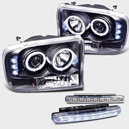 1999-2004 FORD F250 SUPER DUTY HALO HEADLIGHTS PROJECTOR + LED FOG BUMPER  LAMPS