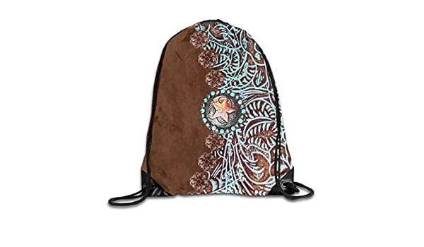 Drawstring Bags Primitive Cowboy Western Country Brown Star Rustic Drawstring Shoulder Backpack Lightweight Sports Gym Bag Sneaker Bags