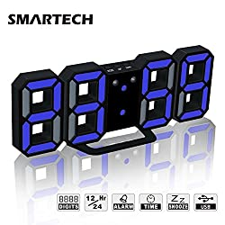 Alarm Clock with Jumbo 3D Digits, Snooze for Heavy Sleeper, 3 Levels of Brightness, Dimmable Night Light, Modern Alarm Clock for Living Room Decor, Office, Hotel (Black/Blue)