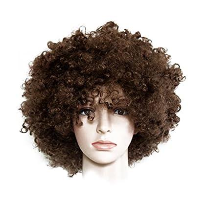 Peluca marrón Afro, peluca de explosión, disfraz de hippie ...