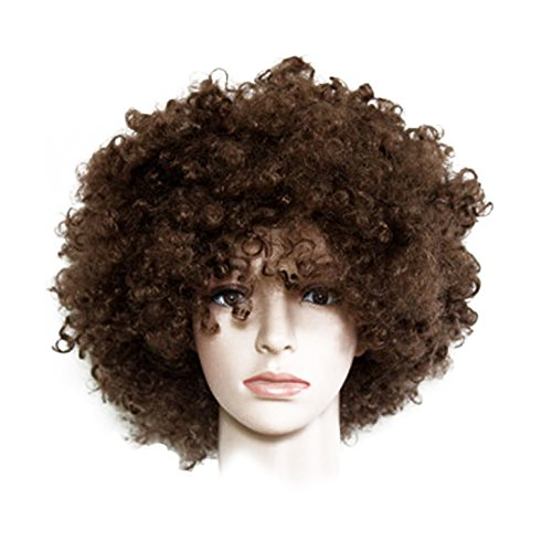 (Nextnol Brown Afro Wig,Explosion wig,Hippie Costume Wig,Halloween Costume Party Wig,Both men and women are suitable for wearing)