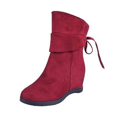 POLPqeD Zapatos Mujer otoño 2018 Botines Mujer Invierno Botas de Gamuza Bota Martin Botines Negros Mujer Botas Rojas Mujer Botines de Mujer Planos Botines ...