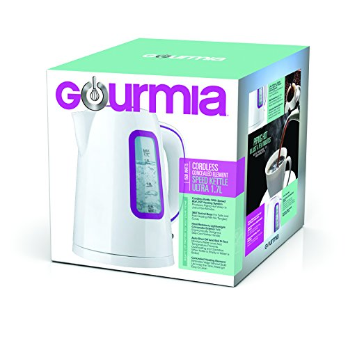 Gourmia GK220 Supreme Electric Tea Kettle - Cordless - Speed Boil - Auto Shutoff - Boil Dry Protection - Concealed Heating Element - 360° Swivel Base - 1.7L - 1500 Watts - 110/120V - White/Purple by Gourmia (Image #7)