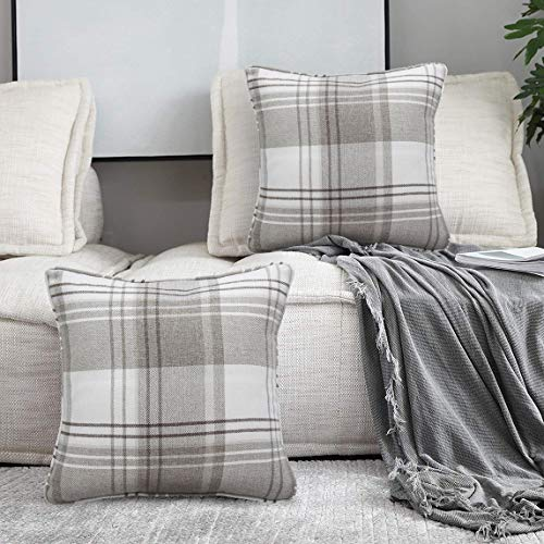 Alexandra Cole Check Tartan Outdoor Throw Pillow Case Cushion Cover for Farmhouse Sofa Set of 4 18