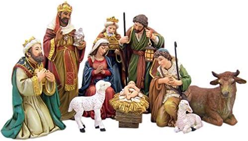Michael Adams Detailed Resin Christmas Nativity Figurine Statue Set, 5 Inch 9-Piece