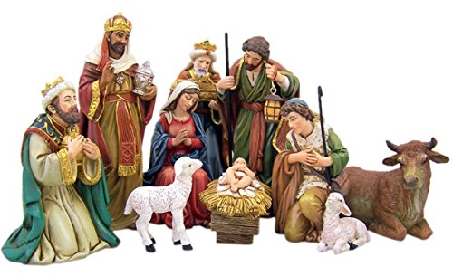 Michael Adams Detailed Resin Christmas Nativity Figurine Statue Set, 5 Inch (9-Piece) by Michael Adams Exclusive