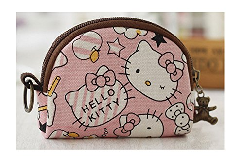 Cute Youth Korean Japanese Style Canvas Novelty Wallet Coin Purse Credit Card Photo Bill Key Holder (Pink Hello Kitty)