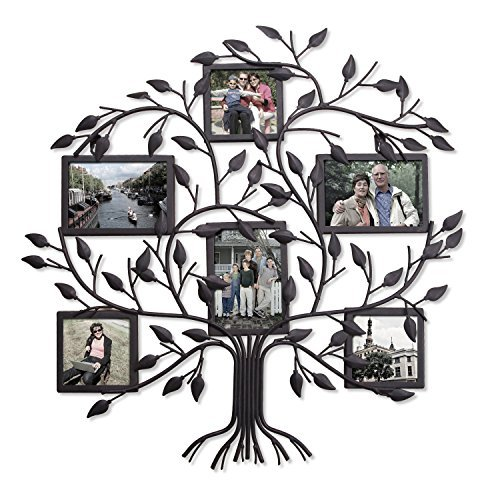 Adeco PF0571 Family Tree Black Metal Wall Hanging Decorative Collage Picture Photo Frame, 6 Openings, 4x6