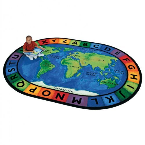 Carpets for Kids 4106 Printed Circletime Around The World Kids Rug Size: Oval 6'9