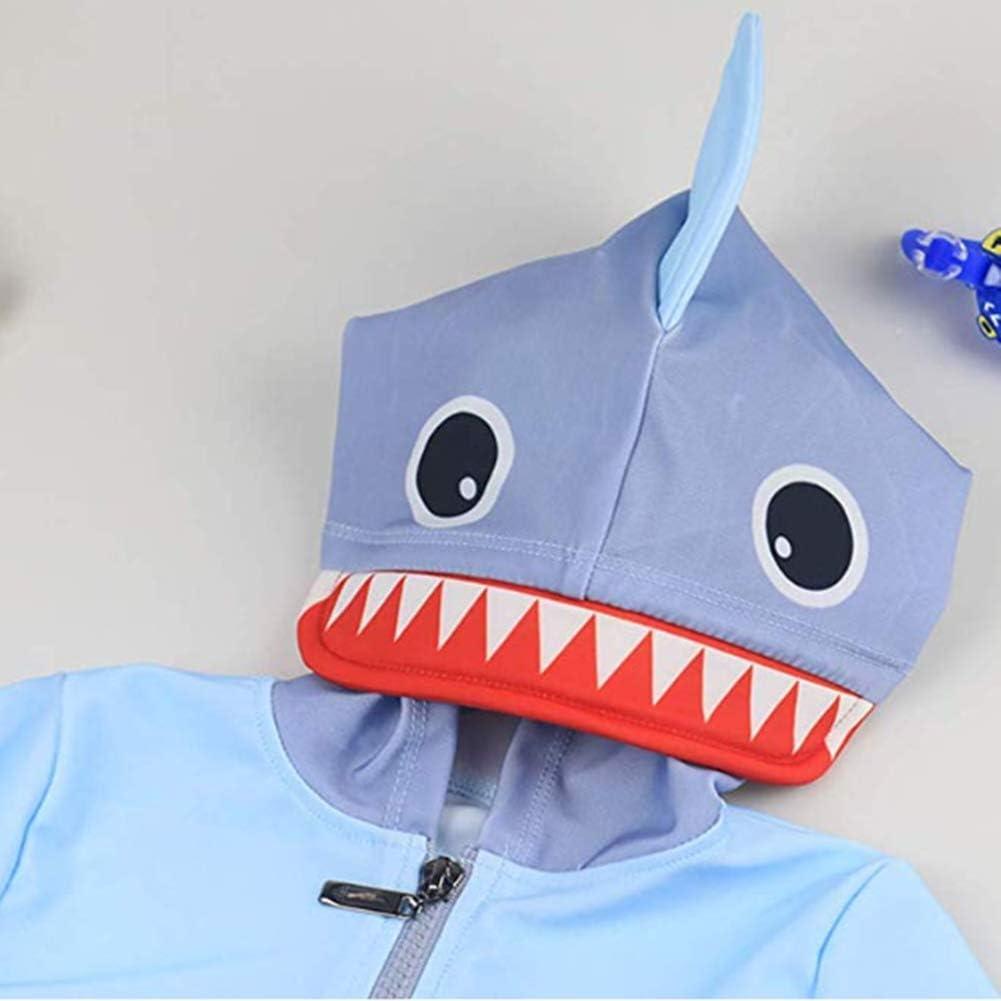 Digirlsor Baby Toddler Boys Two Piece Rash Guard Swimsuits Kids Long Sleeve Hooded Shark Bathing Suit Swimwear Set