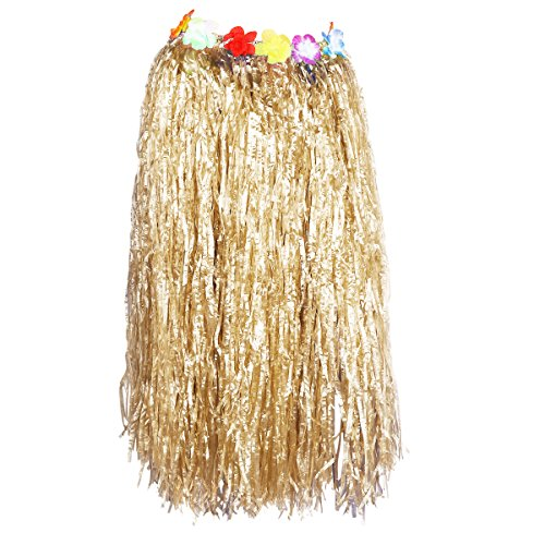 Straw Skirt (Tinksky Hawaiian Grass Dance Skirt for Beach Luau Party Decoration, gift for women Adults 80cm (Straw Color))