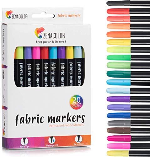 Zenacolor 20 Fabric Markers Pens Set - Non Toxic, Indelible and Permanent Fabric Paint Fine Point Textile Marker Pen - Pens Fine Point Tip