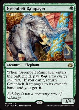 Magic  The Gathering   Greenbelt Rampager  107 184    Aether Revolt   Foil
