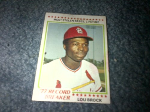 (1978 Topps MLB Lou Brock Card #1 (1977 Record Breaker Most Stolen Bases Lifetime)! St Louis Cardinals, Chicago Cubs )