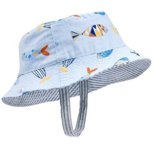 Fish Sun Hat - SOMALER Toddler Kids Summer Sun Hat Boys Girls Reversible Cotton Bucket Hat Spring Hat For 6M-4T