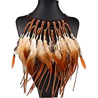 Hunputa Aboriginal Charm 2 Layers Exaggerated Leather Tassel Feather Pendant Choker Sweater Accessories Performance Necklace Jewelry for Womens Gift (Coffee)