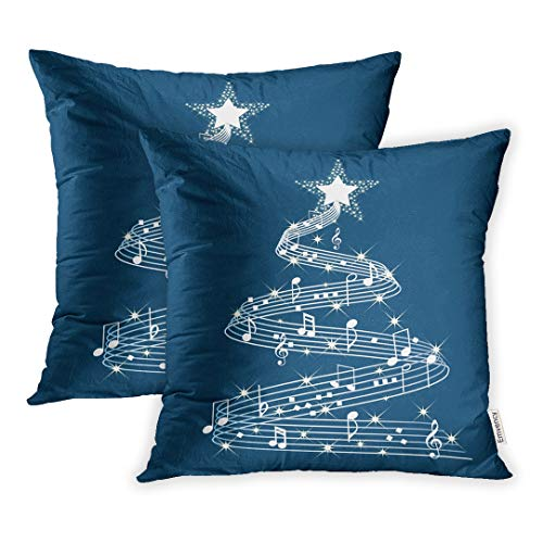 Emvency Throw Pillow Covers 16 x 16 Inches Set of 2 Red Music Musical Christmas Tree Holiday Symphony Pillow Case Decorative Cushion Cover Two Sides Print Pillowcase