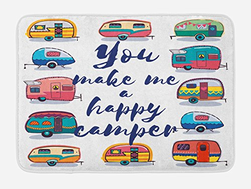 Lunarable Camper Bath Mat, You Make Me Happy Camper Motivational Quote with Caravans Retro Style Travel Graphic, Plush Bathroom Decor Mat with Non Slip Backing, 29.5 W X 17.5 W Inches, Multi by Lunarable