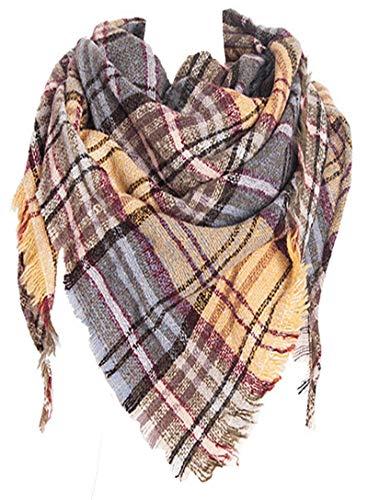 Wander Agio Womens Warm Scarf Triangle Shawls Scarves Stripe Plaid Fichu Rough Surface Plaid Yellow 08