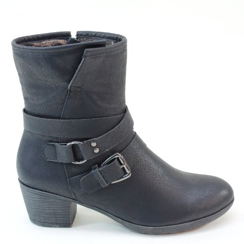 New Brieten Womens Buckles Low Chuncky Heel Warm Short Boots k2HKmAMB0