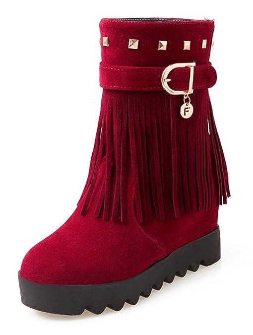 Women's Stylish Waterproof Fringe Studded Buckle Faux Fur Lined Mid Wedge Heel Platform Warm Winter Snow Boots