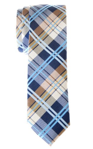 Retreez Elegant Tartan Check Woven Microfiber Skinny Tie - Navy Blue and Khaki