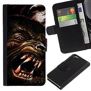 KLONGSHOP // Tirón de la caja Cartera de cuero con ranuras para tarjetas - Lobo enojado Perro Red Eyes Arte Cara Dientes Hocico - Apple Iphone 6 //