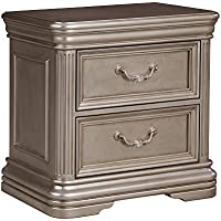 Birlanny Two Drawer Night Stand Silver/Traditional