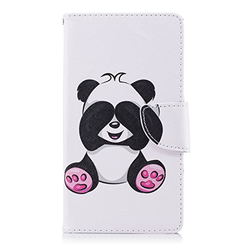 Cover Case Silicone Soft Xperia Stand Folio Case PU HongHushop Cover L2 Sony Built Cute Slots Bookstyle Pattern Protection Inner Panda Wallet Leather Full Case in for Card Magnetic Panda Wallet Shy Flip PU Case 5wxqxPIf1C