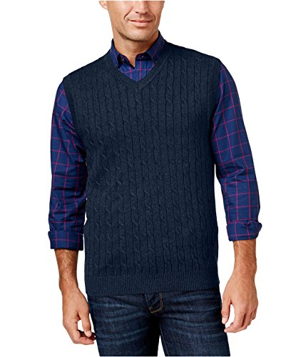 Club Room Mens Big & Tall Cable Knit Pull Over Vest Navy M