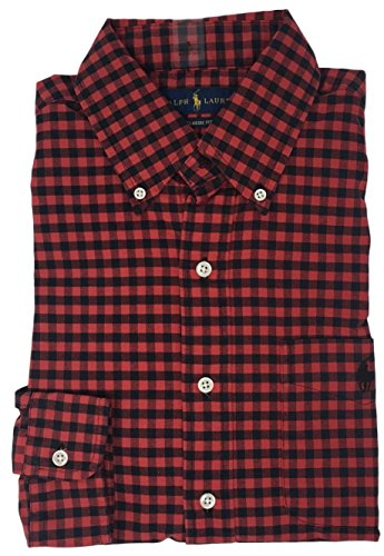 Polo Ralph Lauren Men's Long Sleeve Oxford Button Down Shirt-RedBlack-XL