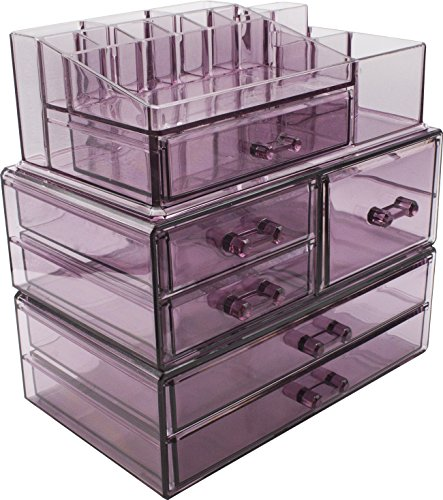 Sorbus Cosmetics Makeup and Jewelry Storage Case Display Sets -Interlocking Drawers to Create Your Own Specially Designed Makeup Counter -Stackable and Interchangeable (Purple)