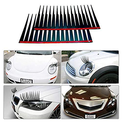 Zhengji 2PCS 3D Charming Black False Eyelashes Fake Eye Lash Sticker Car Headlight Decoration Funny Decal for Beetle