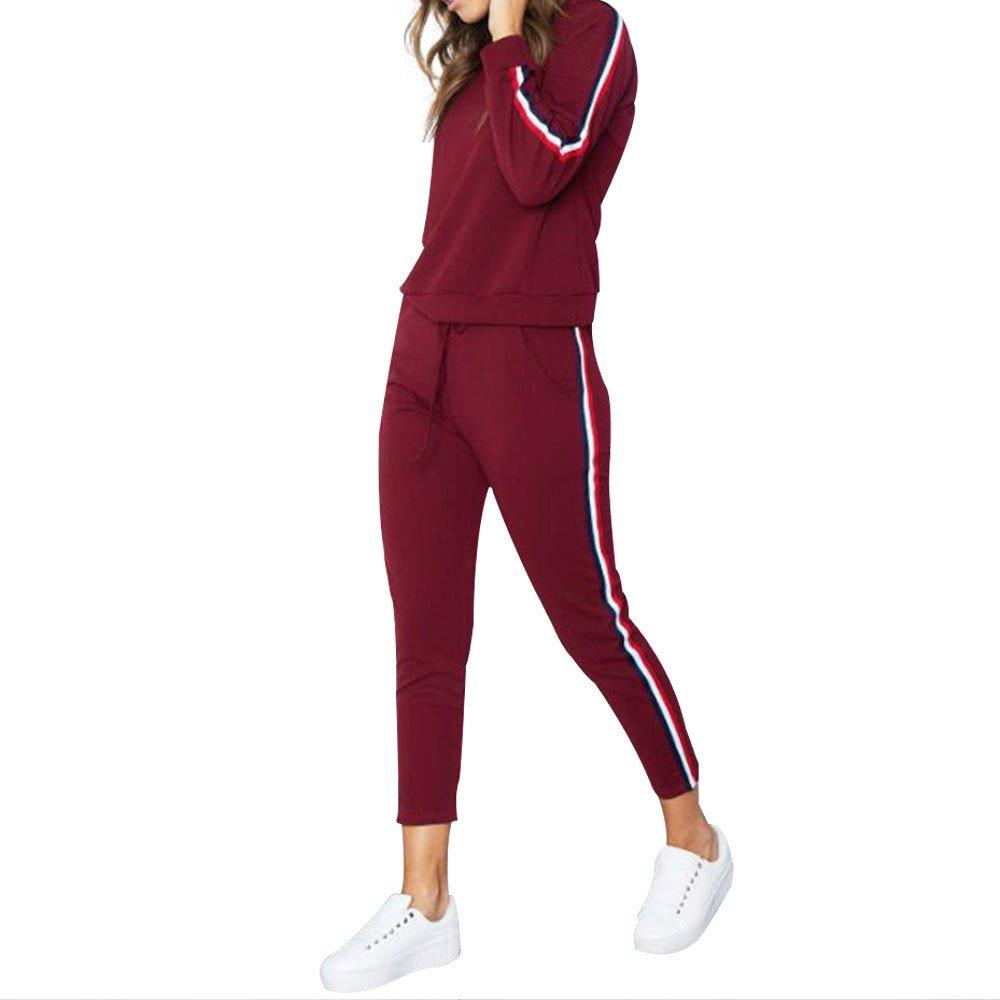 Sllowwa Damen 2 St/ück Sportanz/üge Jogginganzug Freizeitanzug Langarm 2-teiliges Trainingsanzug-Set gestreift Active Sport Loungewear