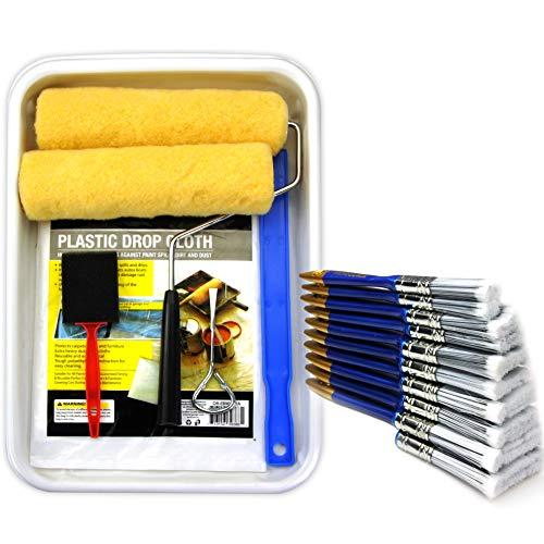 20 Piece 9 INCH Paint Applicator kit,Paint Roller,Paint Rollers,Paint Brush,Paint Brushes,Paint Roller Tray,Paint Roller Tray Liner,Paint Mixer,Paint Roller Covers,Paint Roller Frame,Painters Brush