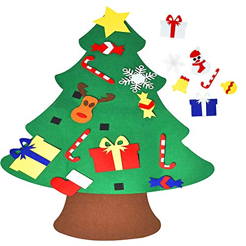 Newdanceus 3FT DIY Felt Christmas Tree Set with 28 Pcs Detachable Ornaments Xmas Gifts for Kids Wall Hanging Christmas Decorations