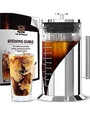 Cafe du Chateau Cold Brew Koffiezetapparaat, 1 liter, met filter van roestvrij staal 304 en behuizing van borosilicaatglas, Iced Coffee Maker met tweelaagse luchtdichte siliconen afdichting
