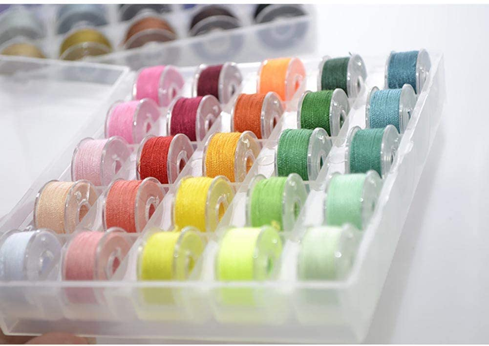 Knowooh Bobbin Fall Veranstalter 25 Farben N/ähmaschine Spulen N/ähgarnrollen mit Aufbewahrungskoffer DIYN/ähwerkzeug f/ür Haushaltsn/ähmaschinen